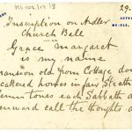 Card with note of inscription on the Ardler Church Bell