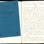 Page showing handwritten account and published booklet of Carmichael's Coal and Steam experiments