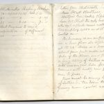 Notebook pages of handwritten account of Carmichael's visit to an English factory