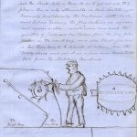 Document showing handwritten account of Carmichael's flax scrutching machine with hand drawn diagram.