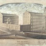 Illustration of Lower Dens Mills buildings and street
