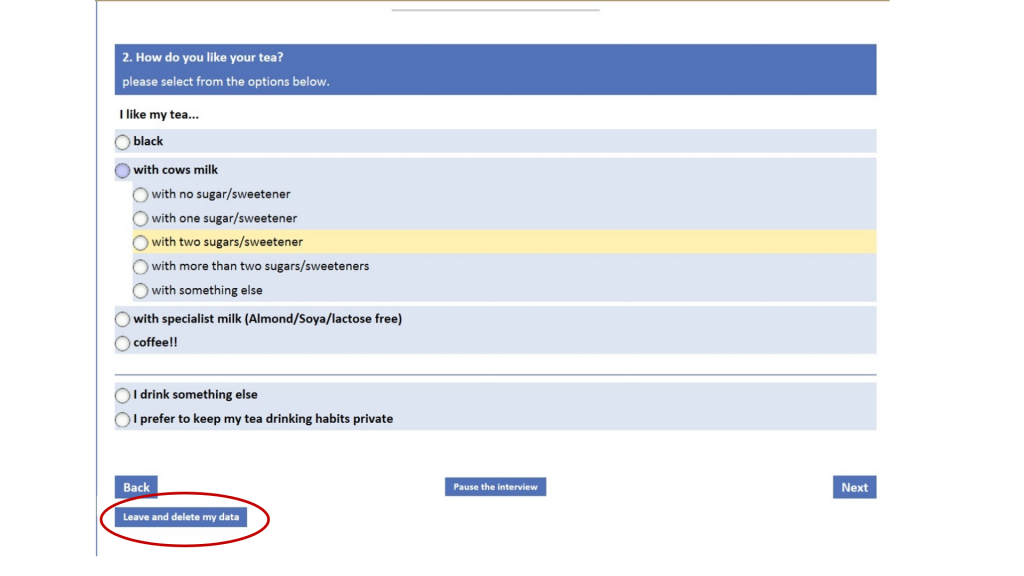 """Image shows example page for survey, the example question is """"how do you take your tea?"""""""