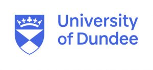 The university of Dundee crest on left, with the words 'university of Dundee. All in blue on white background