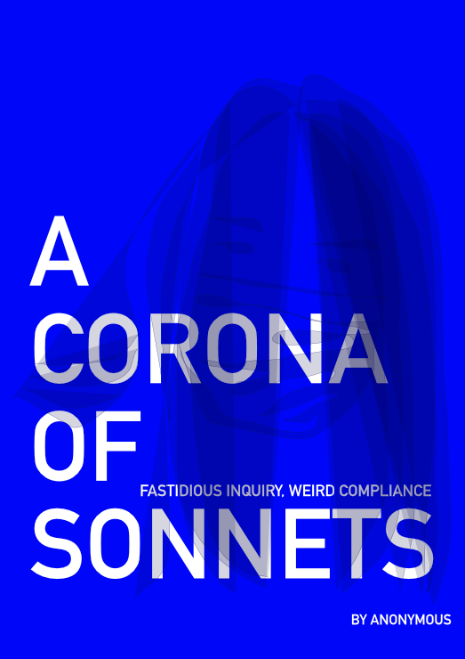 "The words ""A Corona of Sonnets"" in large white writing on a vibrant blue background image of a woman wearing a mask."