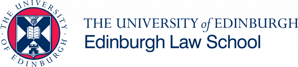 A circular logo in red and blue with University of Edinburgh Crest at centre. To the right of this are the words University of Edinburgh in dark blue