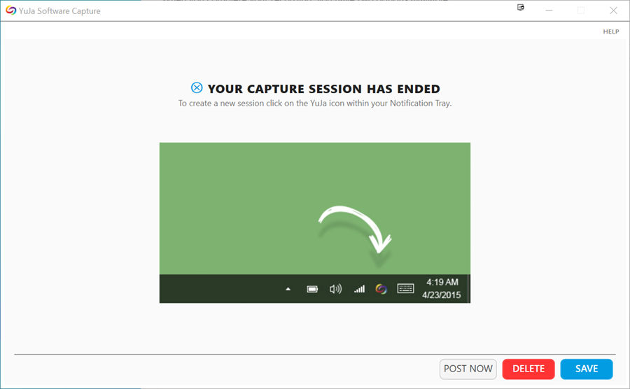 YuJa your capture session has ended screen