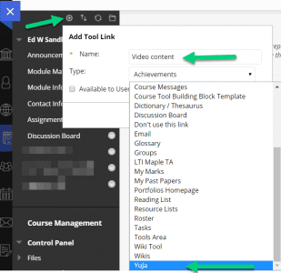 Screen shot of adding the YuJa Tool link in left hand menu