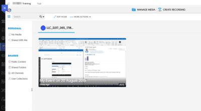 Screenshot of YuJa front end
