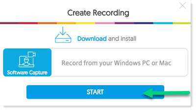 Click start on the create recording interface